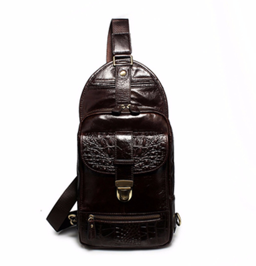 New Men High Quality First Layer Cowhide Sling Chest Pack bag Crocodile pattern Genuine Leather Cowhide Shoulder Messenger Bag
