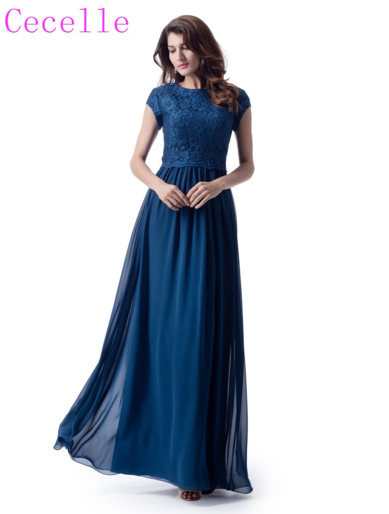 2019 Slate Blue Chiffon Modest   Bridesmaid     Dresses   With CAP sleeves A-line Lace Chiffon Rustic Formal Maids of Honor   Dress   Custom