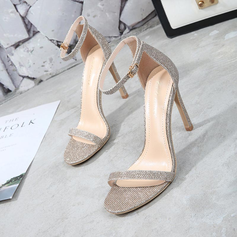 Women shoes high heels 2019 new fashion genuine leather summer shoes woman fine-striped band thin heels zapatos de mujer