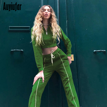 Auyiufar Casual Fashion Women Two Piece Set Striped Sporty Active Wear Outfits Long Sleeve Crop Top And Pants Matching Sets 2019
