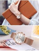 MEGIR Date Chronograph Women Watch Top Luxury Brand Lover Female Clocks Mesh Steel Classic Lady Watches Dress Business Clock Box