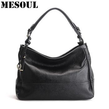 MESOUL 100% Genuine Leather Bag Women Cow Leather Handbags Famous Brand Female Messenger Bags Ladies Shoulder Bag Bolsos Mujer