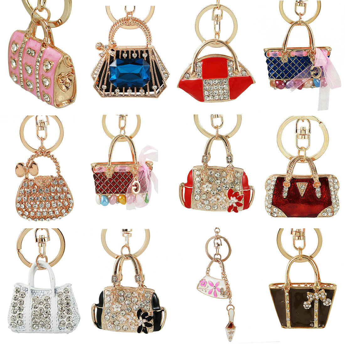 High Quality Handbag Keychains Crystal Pave Metal Fashion Women Bag Pendant Rhinestone Key Chains For Car Christmas Gift