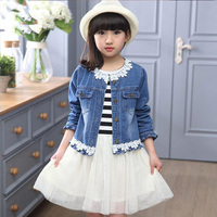 Girl jacket and dress set two piece set suits casual denim coat casual outwear+stripped splicing dress casual children kid YY102