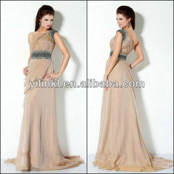 fb39abc7fe03 One Shoulder Light Brown Long Chiffon Ladies Fashion Indian Designer  Evening Dresses