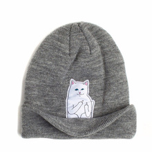 Fuck gorros skullies beanies middle wool knitted patch finger cat designer