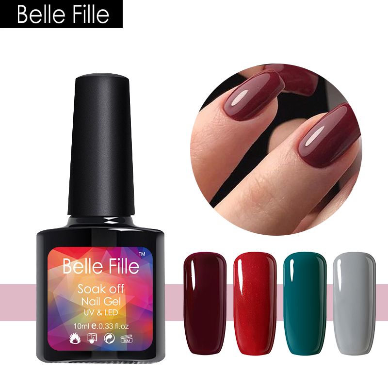 ⑦Belle Fille Manicure Varnish Wine Red Color Shining Fashion Nail ...