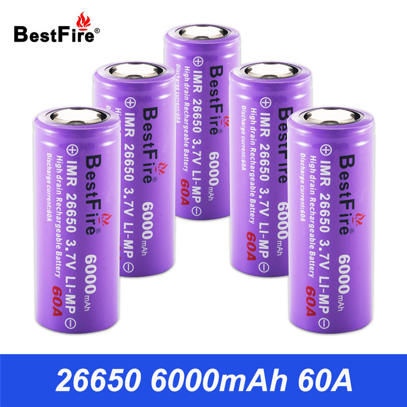 26650 Rechargeable Battery 3.7V Li-ion Battery 26650 6000mAh 60A LED Flashlight Tools Drills 26650 Battery B145