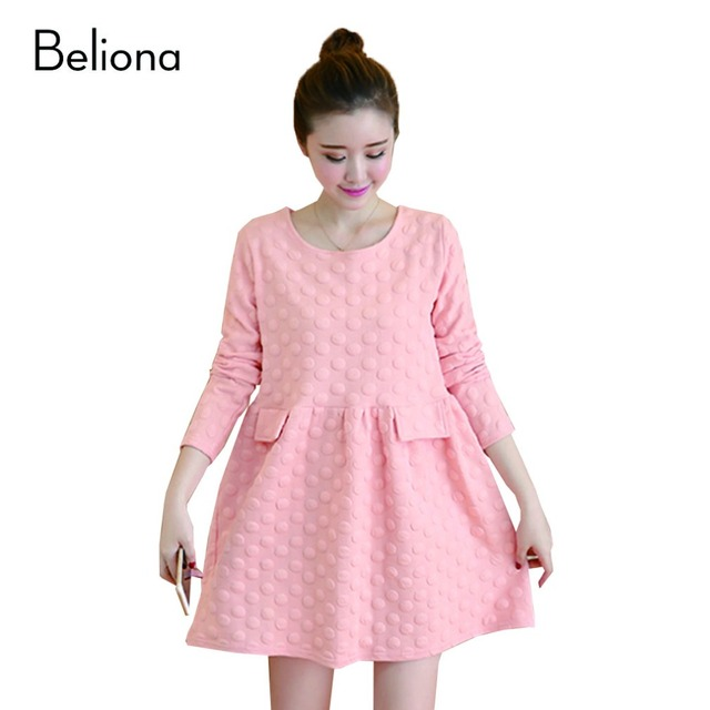 Plus Size Polka Dot Maternity-dress Fall Winter Maternity Dresses for Pregnant Women Casual Pregnancy Clothes Pregnant Dress