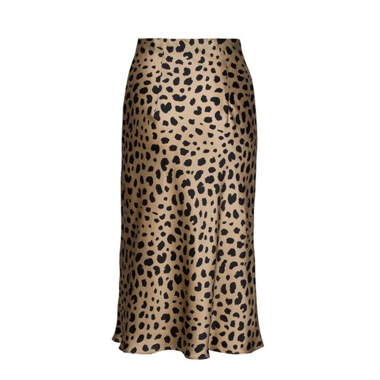 Hot Sale High Waist Leopard Midi Skirt Female Hidden Elasticized Waistband Silk Satin Skirts Slip Style Animal Print Skirt Women 13