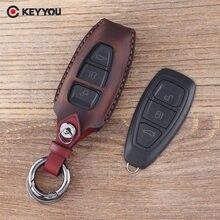 KEYYOU-Funda de cuero para llavero de coche, 3 botones, para Ford Focus c-max, Mondeo, Kuga, Fiesta