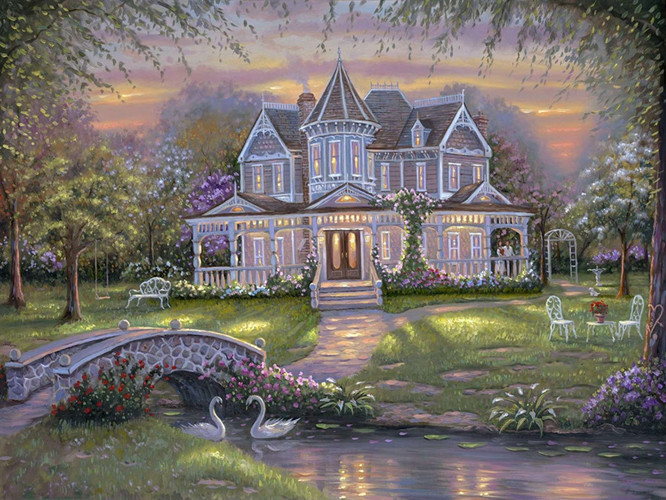 free shipping Thomas light villa house landscape canvas prints oil painting printed on canvas home wall art decoration picture