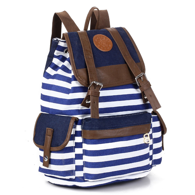 New Fashion Women Students schoolbag Strip Canvas backpack Bag