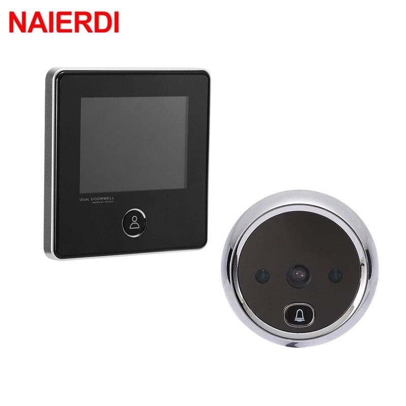 NAIERDI 3 LCD Screen Electronic Door Viewer Bell IR Night Peephole Camera Photo Recording Digital Smart