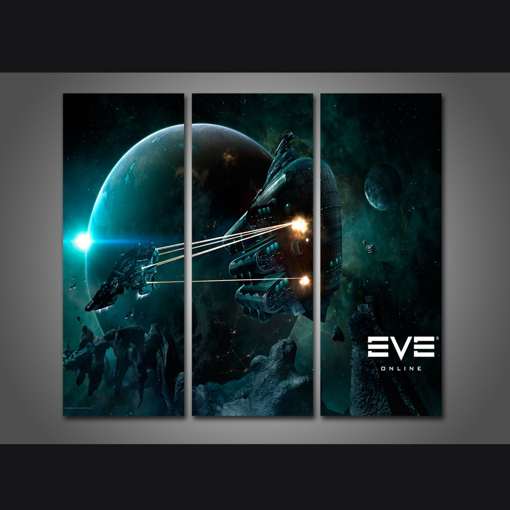 Poster design and printing online - New 3 Pieces Sets Canvas Art Eve Online 3 Panels Hd Canvas Paintings Decorations For