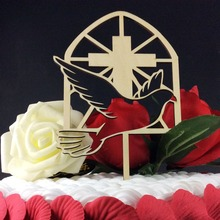 SD-485 Free Shipping Peace Dove With cross deisgn Cake Toppers for Lover's Wedding Personalized Party Favors