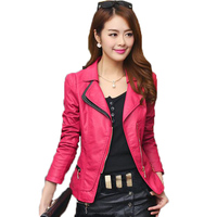 Women Plus Size Black Leather Jacket 2017 Fashion Spring Autumn Slim Long Sleeve Red Faux Leather