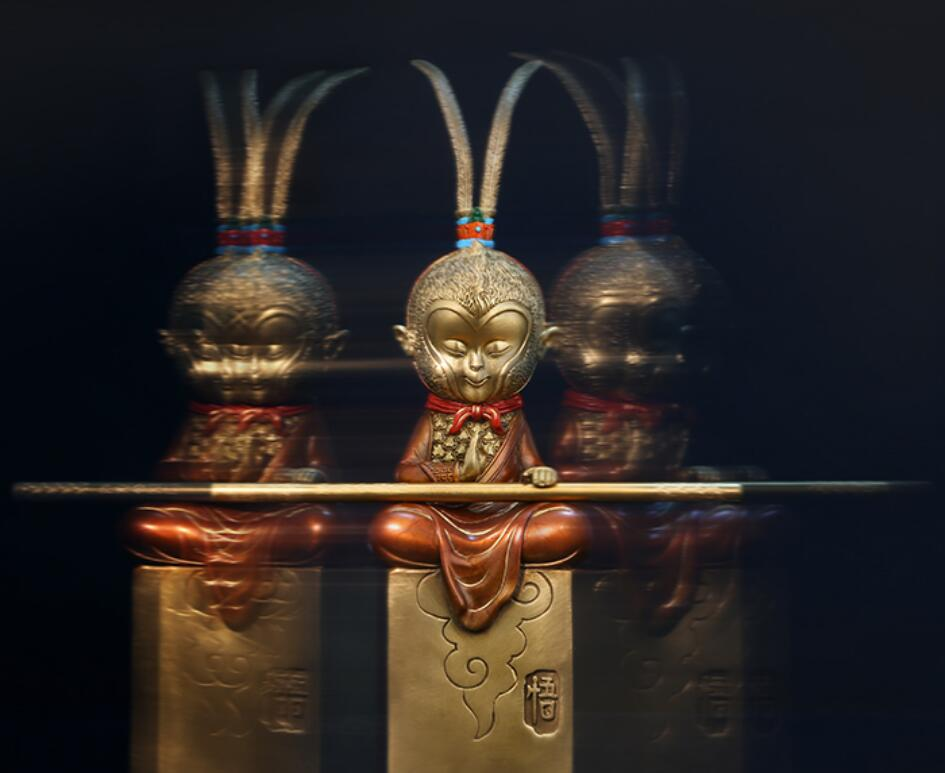 Ensemble de meubles en cuivre qi tian saint sun wukong dans le salon porche artisanat décoratif en résine cabochon
