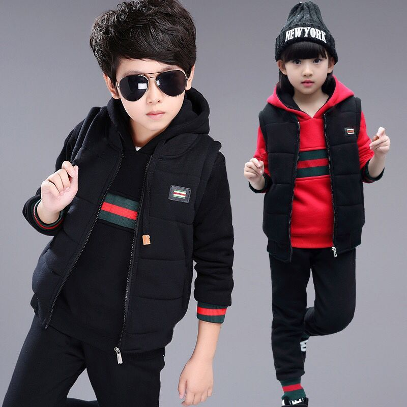 Fashion Baby Boys Girls Clthes Sets Winter Cotton Keep Warm Children Suits New 2018 Waistcoat + Pullover + Pants 3pcs Kids Suits autumn winter baby hats new fashion children warm ball hat double color boys and girls cotton caps beanies baby knitted hat
