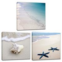 Blue Sea Beach Canvas Giclee Print Sand Seascape Ocean Wave Shell Starfish Picture Painting 3 Piece Large Wall Art Drop shipping