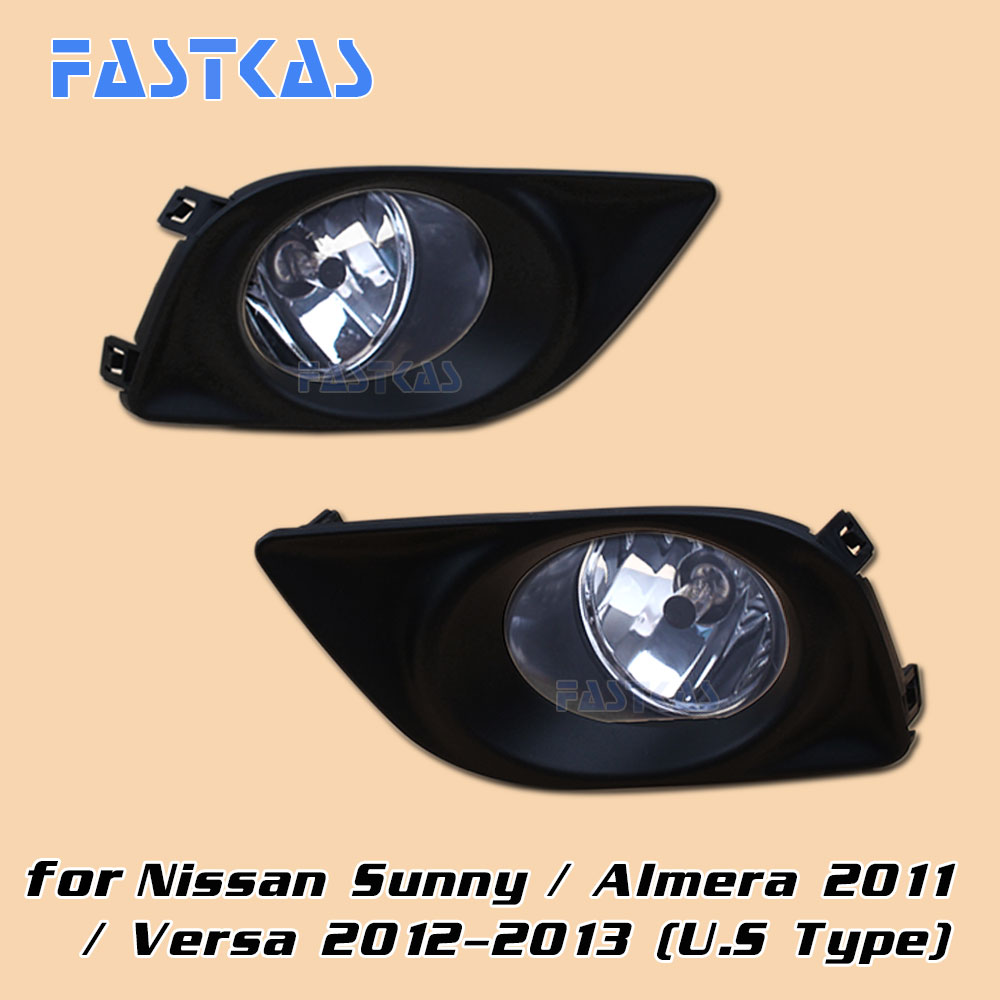 12v 55W Car Fog Light Assembly for Nissan Sunny/ Almera 2011 / Versa 2012 2013 Front Fog Light Lamp with Harness Relay Fog Light hot sale abs chromed front behind fog lamp cover 2pcs set car accessories for volkswagen vw tiguan 2010 2011 2012 2013