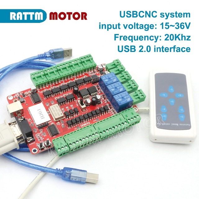 US $40 39 |4 Axis USB CNC breakout board interface board controller USBCNC  with Handle control USB port-in Motor Controller from Home Improvement on