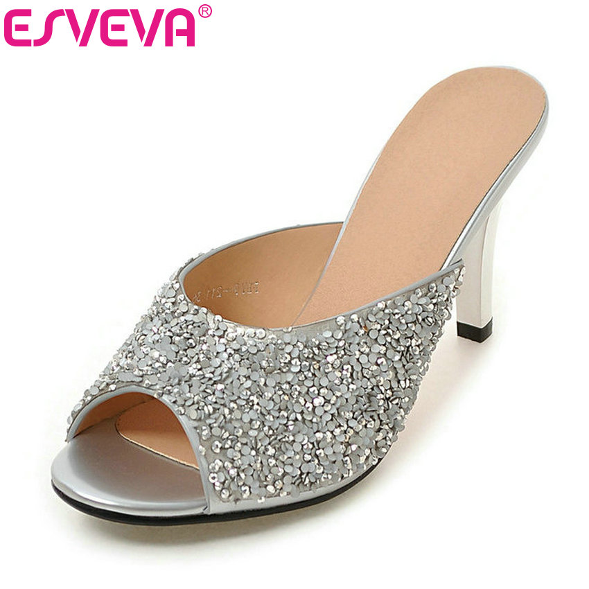 ESVEVA 2017 Women Pumps Thin High Heel Pump Bling Rhinestone Party Pumps Peep Toe Summer Wedding Women Shoes  Big Size 34-43 esveva sexy flock thin high heel women pumps summer party pointed toe woman pumps ankle strap ladies wedding shoe size 34 43