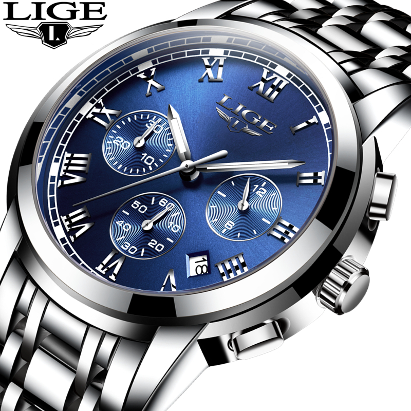 Horloges Mannen LIGE Chronograph Men Sports Watches Reloj Hombre Man Casual Quartz Men's Watch Relogio Masculino Erkek Kol Saati рамка favorit на 3 поста белый 4690389061226