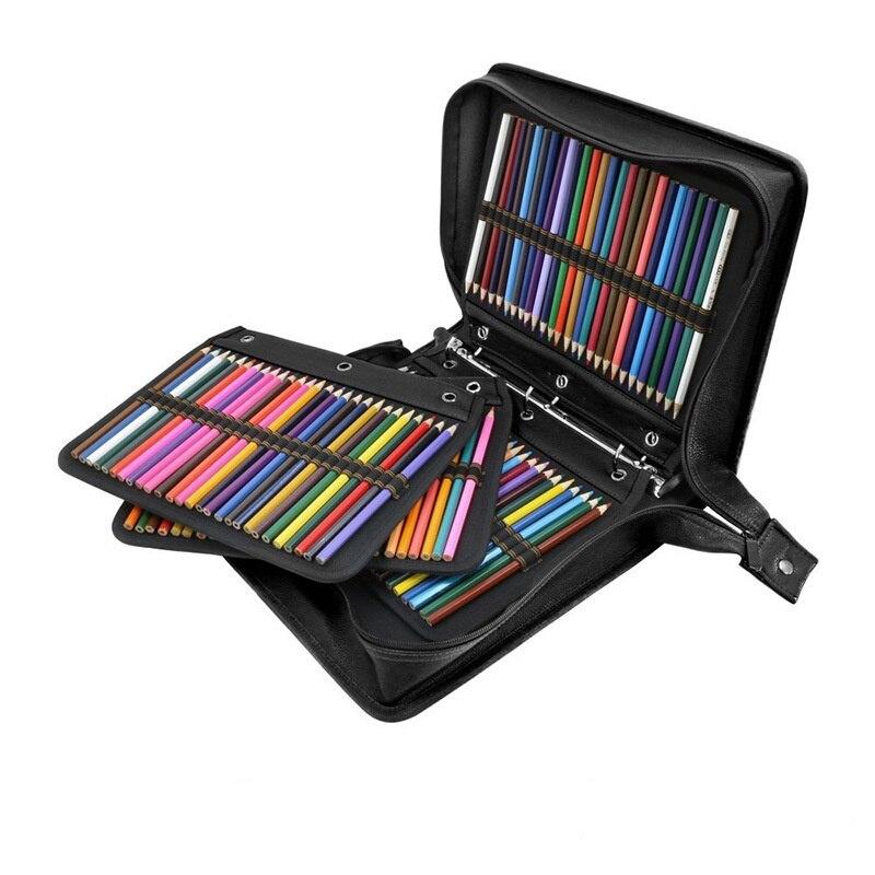 Porte-crayon d'école 216 trous PU cuir professionnel étui à crayons grande capacité sac à crayons boîte pour fournitures d'art mignon papeterie