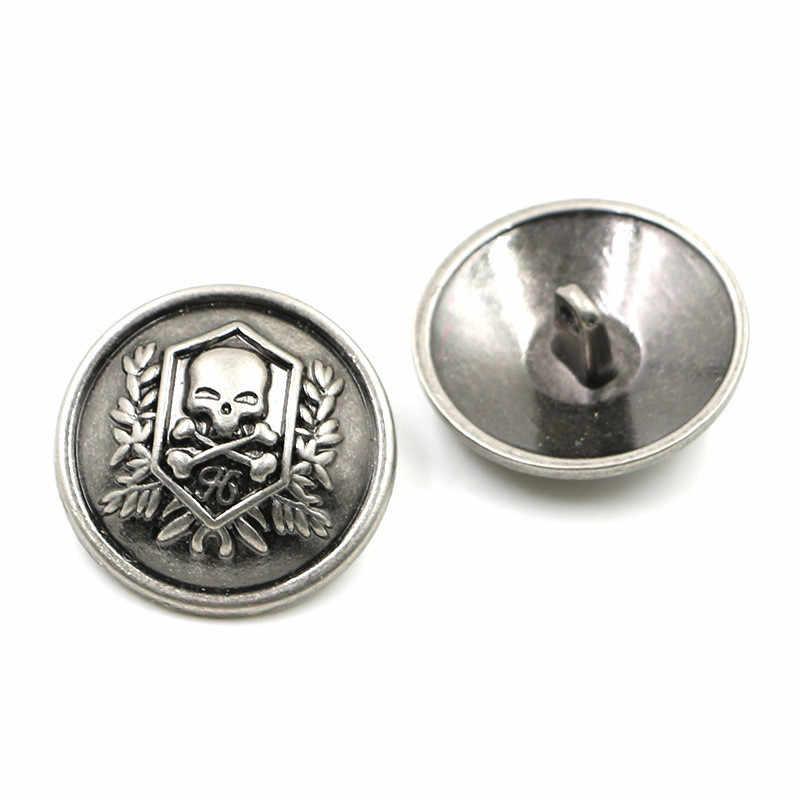10 stks 15mm-25mm metal black knoppen voor mannen mode pak jas shirt doek deocration DIY ambachten naaien kledingstuk zilveren knop