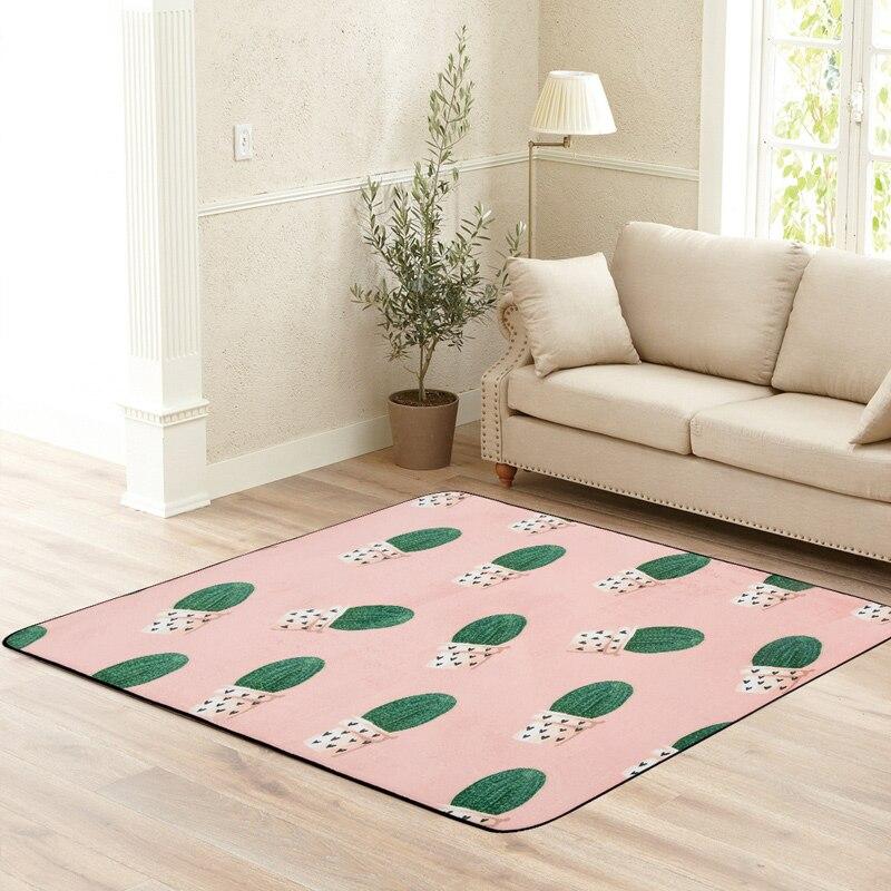 Green Cactus Printed Carpet Rugs Modern Style Children Floor Carpet For Living Room Non Slip Home Decor Rectangle Bedroom Mats