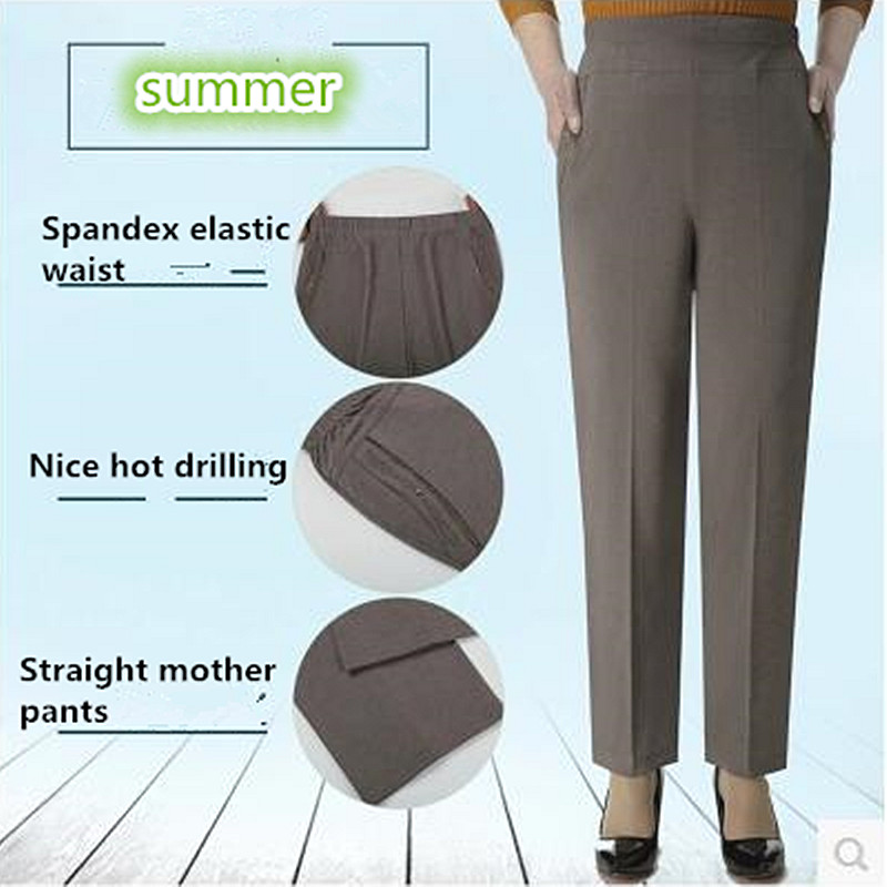 High elastic breathable comfortable   Capris     Pants   Mother Clothing Casual   Capris   Plus Size Summer Women'S Plus Size Loose M-5XL