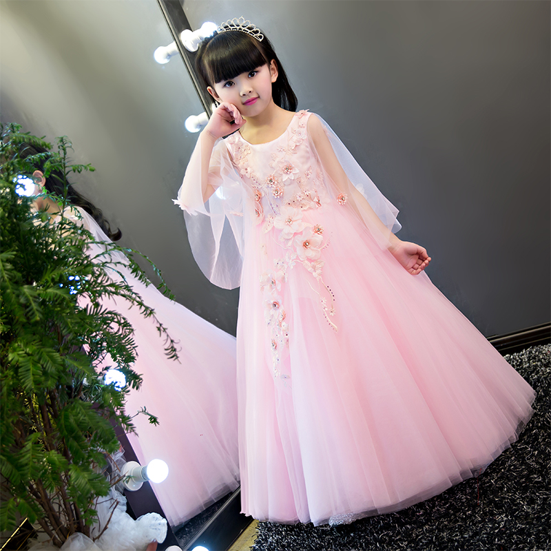 2019New Arrival European American Luxury Pink Embroidery Lace Flowers Long Dress Wedding Birthday Party Flowers Ball Gowns Dress2019New Arrival European American Luxury Pink Embroidery Lace Flowers Long Dress Wedding Birthday Party Flowers Ball Gowns Dress