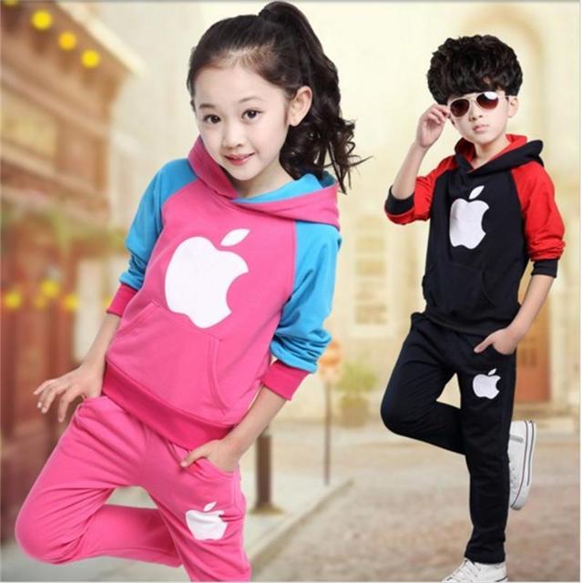 Idade 4-12Y crianças Outono inverno conjuntos de roupas infantis para meninas sports define meninos conjuntos de fatos crianças conjuntos de jogging calças criança