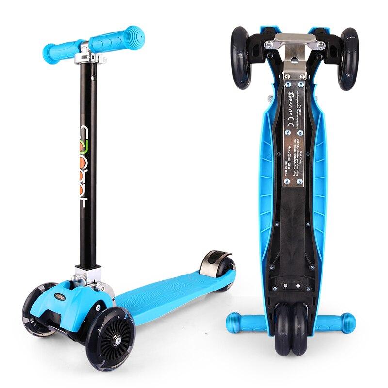 Meilleur Pliant Portable enfants Scooter 3 Roues Scooters Avec Arrière De Frein PU Clignotant Hauteur Réglable Pour 2-16 Année vieux
