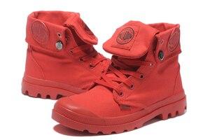 Image 2 - البلاديوم pallabrouse جميع الأحمر رياضة الرجال عالية أعلى الأحذية القماشية عارضة أحذية الكاحل العسكرية الرجال الاحذية حجم 39 45
