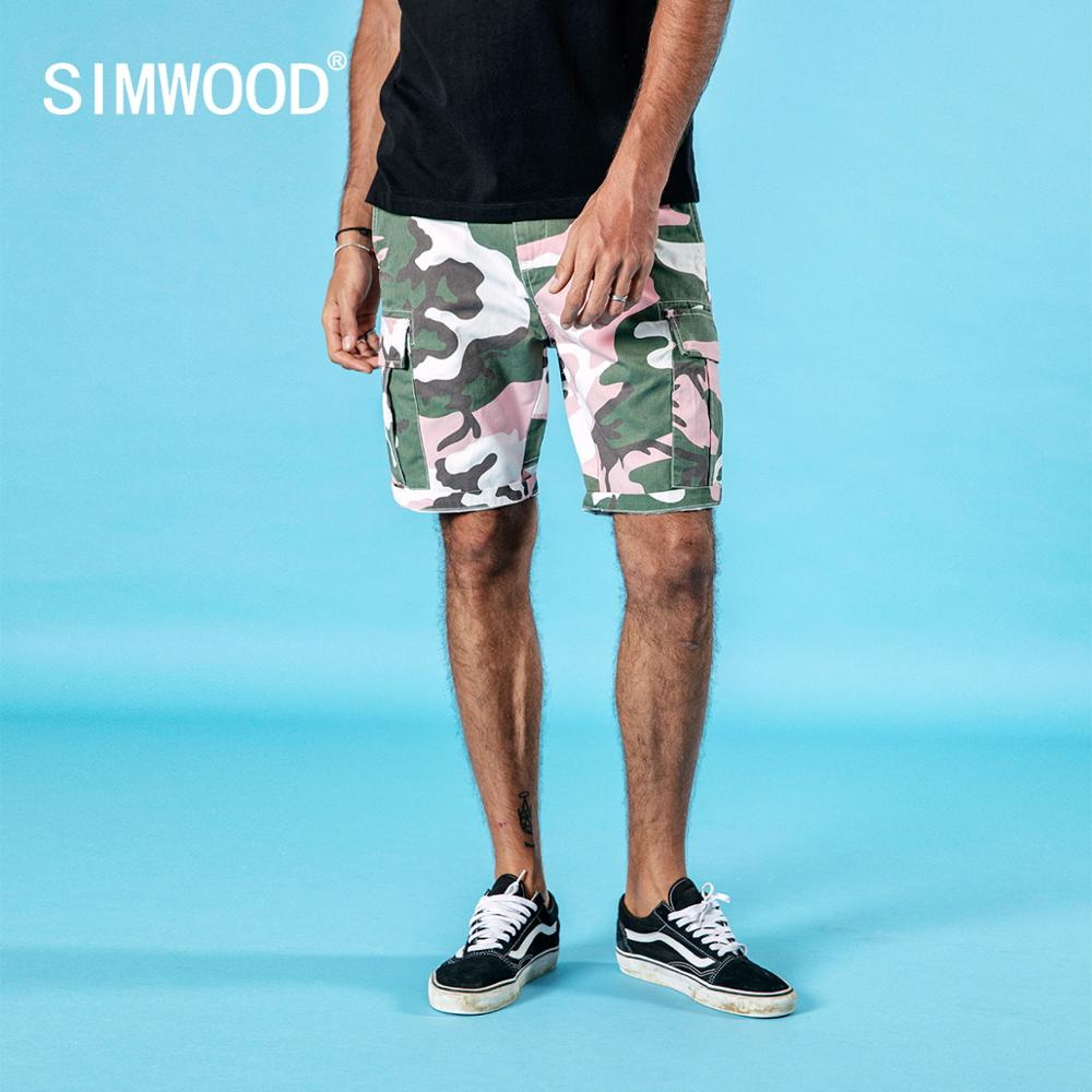 SIMWOOD 2019 summer new Camouflage cargo   shorts   men causal plus size fashion 100% cotton high quality   shorts   190260