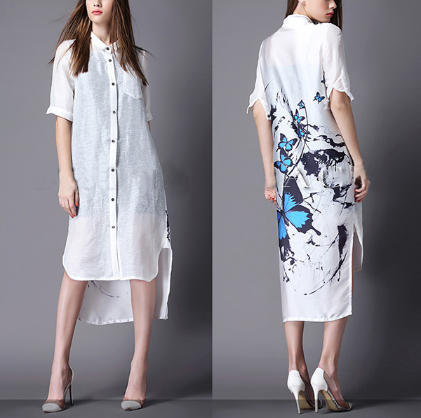 Aliexpress.com : Buy Fashion Summer B Style Long Shirt Women Dress ...