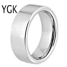 Heiße Verkäufe 8MM Breite Klassische Hochzeit Band Engagement Ringe Silber Rohr Kostenloser Gravur Wolfram Hartmetall Ringe Für Frauen Männer der Ring