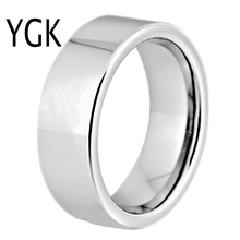 Hot Sales 8MM Width Classic Wedding Band Engagement Rings Silver Pipe Free Engraving Tungsten Carbide Rings For Women Mens Ring