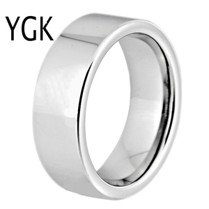 Image 1 - Hot Sales 8MM Width Classic Wedding Band Engagement Rings Silver Pipe Free Engraving Tungsten Carbide Rings For Women Mens Ring