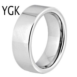 Image 1 - Hot sprzedaży 8MM szerokość klasyczna obrączka obrączki srebrne rury darmowe grawerowanie wolframu pierścienie węglikowe dla kobiet męska pierścień