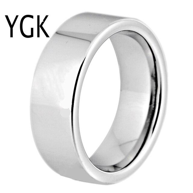 Hot sprzedaży 8MM szerokość klasyczna obrączka obrączki srebrne rury darmowe grawerowanie wolframu pierścienie węglikowe dla kobiet męska pierścień