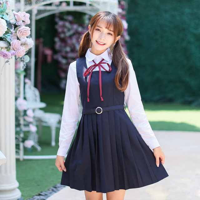 e5fe17cd0 Spring Japanese School students Girl Uniform Naval College Style Sailor  Uniforms Suit Japanese Korea Girls Student