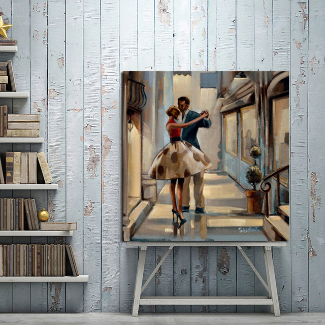 Classic American Couple Dancing Canvas Painting Vintage Wall Art Posters And Prints Wall Picture for Living Room Cafe Bar Decor