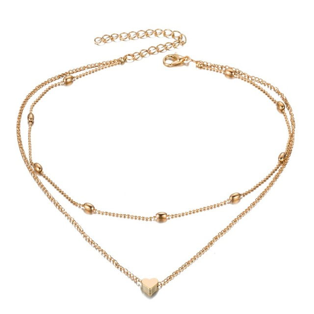 FAMSHIN Fashion Gold Silver Color Jewelry Love Heart Necklaces & Pendants Double Chain Choker Necklace Collar Women Jewelry Gift 2