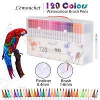 120 צבעים מברשת עצה כפולה מרקר עטים Fineliners אמנות סמני מים מבוסס דיו קליגרפיה צביעת ציור בית ספר אספקת אמנות