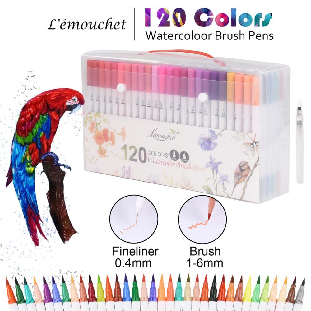 120 couleurs double pointe pinceau marqueur stylos Fineliners Art marqueurs à base d'eau encre calligraphie coloriage dessin école Art fournitures