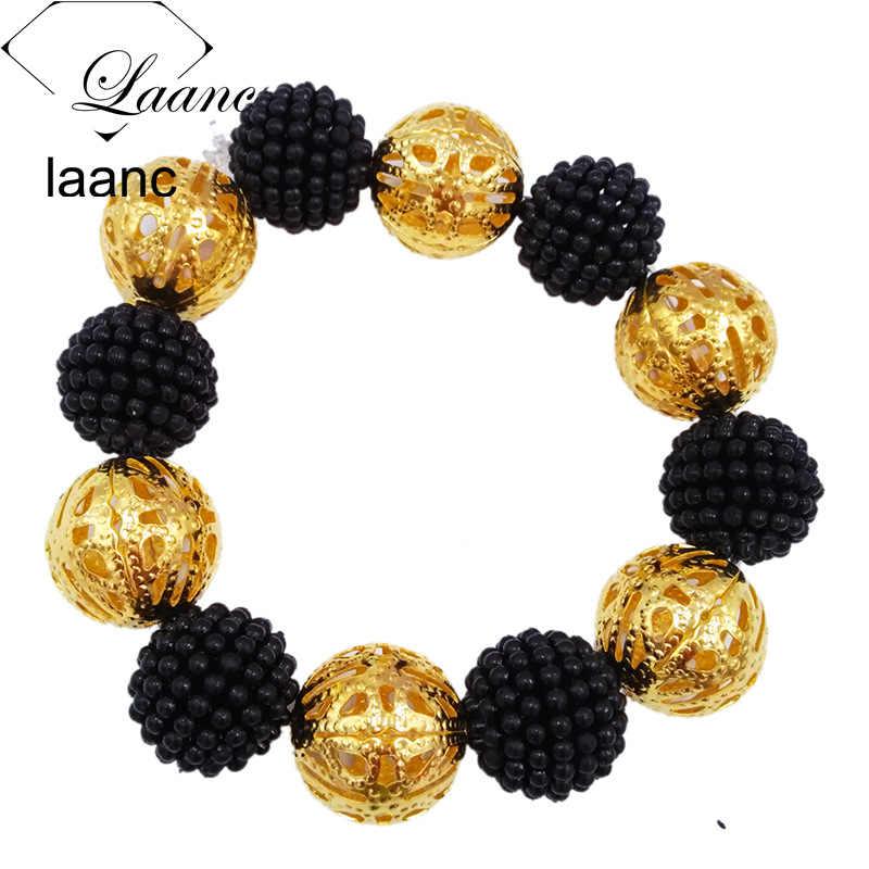Laanc שחור חיקוי פרל חרוזים אפריקאי JewelrySet 2017 ניגרי חתונה Z6JQ018 שרשרת סטי צמיד עגילים