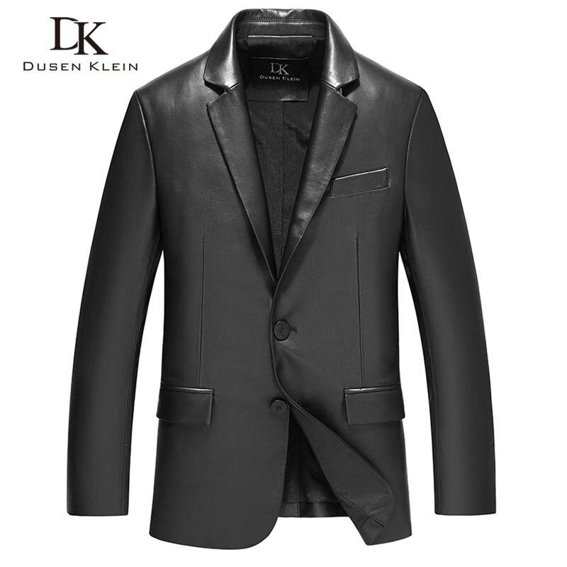 Abrigos de piel de oveja para Hombre Ropa de traje de cuero negro Dusen Klein Nuevo 2017 cuero genuino Slim/chaqueta masculina de negocios 71C17017